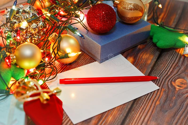 Signing christmas cards concept stock image image of decoration writing winter traditional holidays greetings and congratulations postcards blank card new year tree toys and christmas decorations on wooden background m4hsunfo