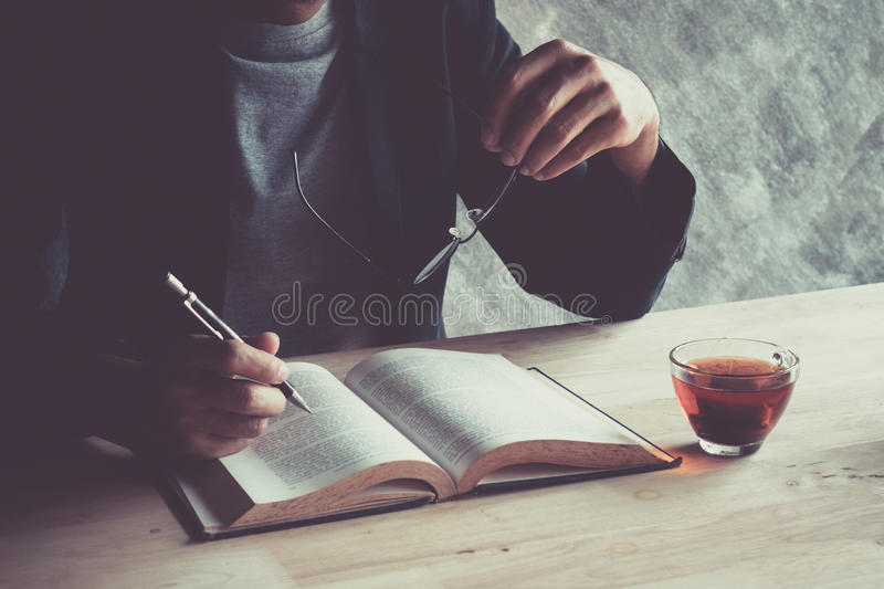 Writing on a wooden table. royalty free stock photo