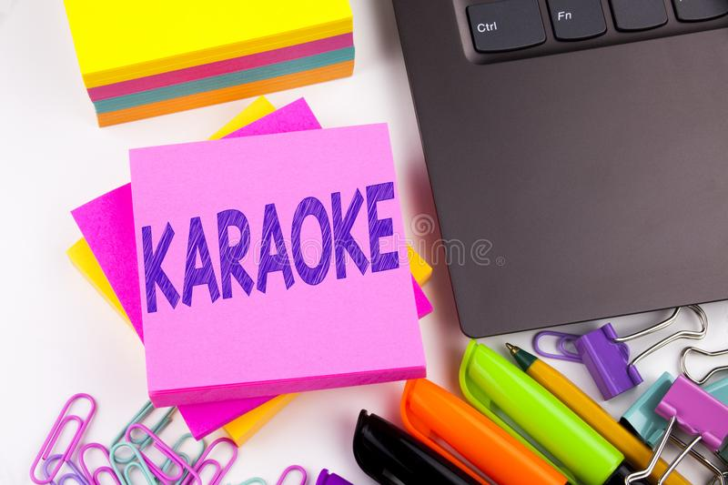 Writing text showing Karaoke made in the office with surroundings such as laptop, marker, pen. Business concept for Singing Karaok. Writing word Karaoke text in stock images