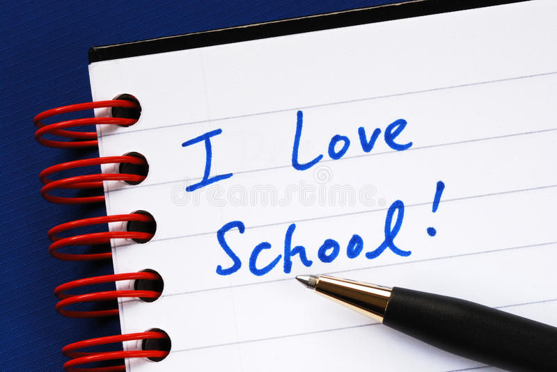 Download Writing The Words I Love School Stock Photo - Image: 22200832