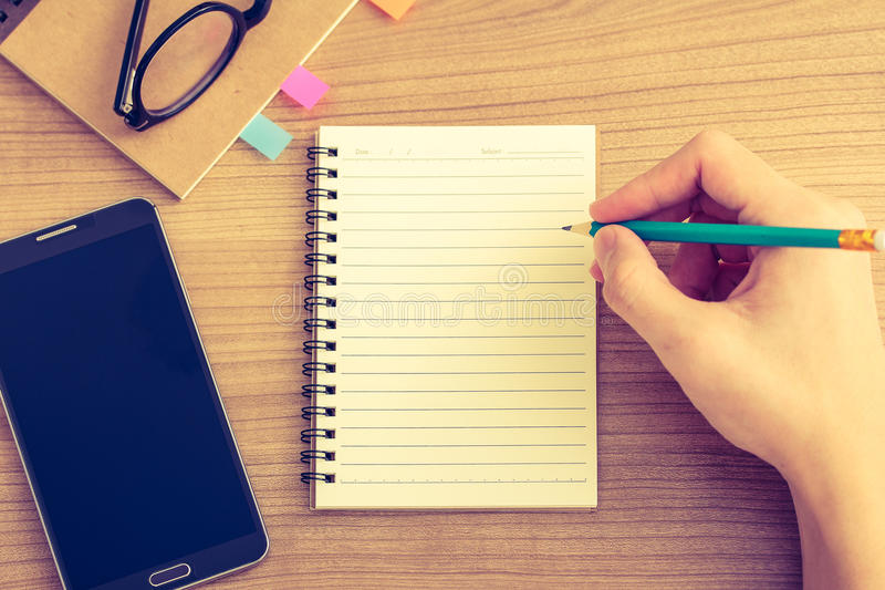 Writing on work desk royalty free stock images