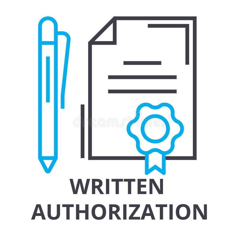 Written authorization thin line icon, sign, symbol, illustation, linear concept, vector royalty free illustration