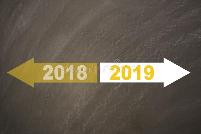 New year 2019 on the blackboard royalty free stock photography