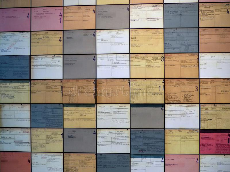 Written colored cards on a wall concerning the period of the second world war in the Topography of the Terror to Berlin, Germany. royalty free stock photos
