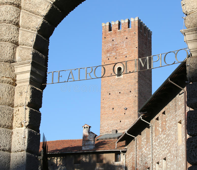 Written in Italian Teatro OLIMPICO that means OLYMPIC THEATRE royalty free stock photography