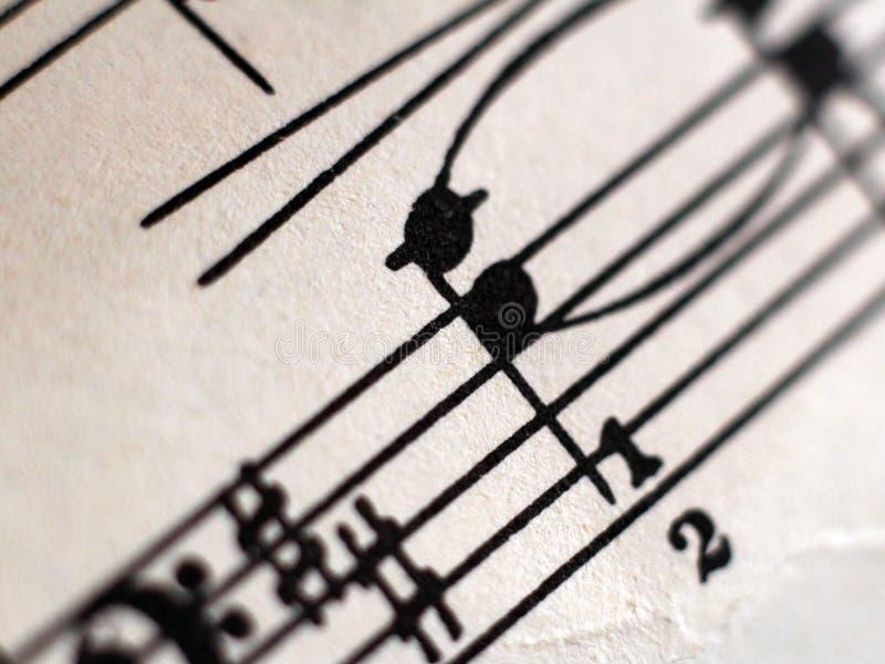 Written Music Notation, retro notes so close stock photo