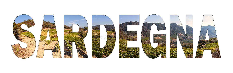 Written SARDEGNA background with a hillside vineyard in Sardinia, Italy. royalty free stock image