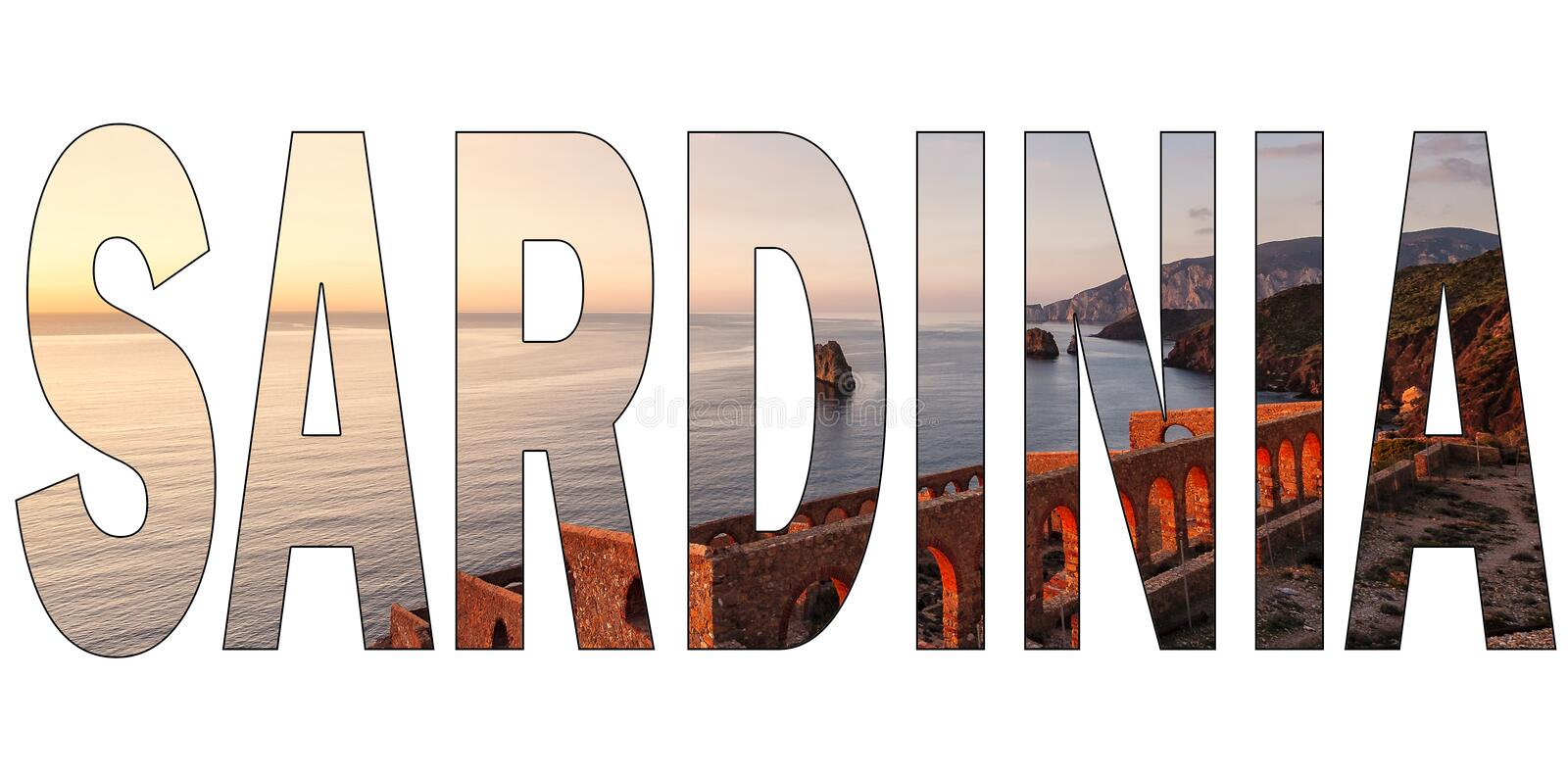 Written SARDINIA with an old mining construction background royalty free stock images