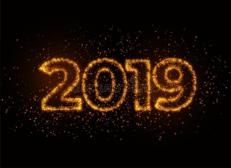writter 2019 nell'effetto brillante della particella delle scintille royalty illustrazione gratis