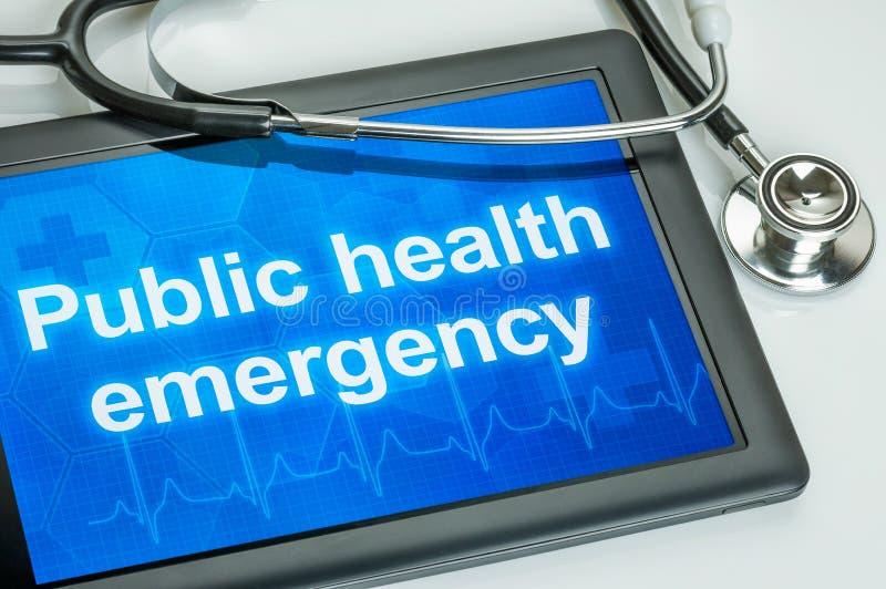 Writtrn da emergência da saúde pública na exposição foto de stock