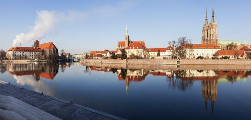 Wrocławska katedra i Uczelniany kościół zdjęcia stock