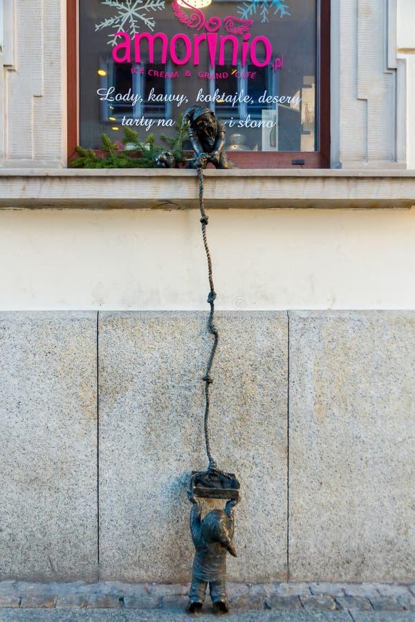 wroclaw Гном скульптуры стоковые фотографии rf