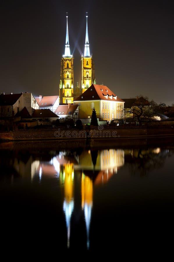 wroclaw ночи стоковые фотографии rf