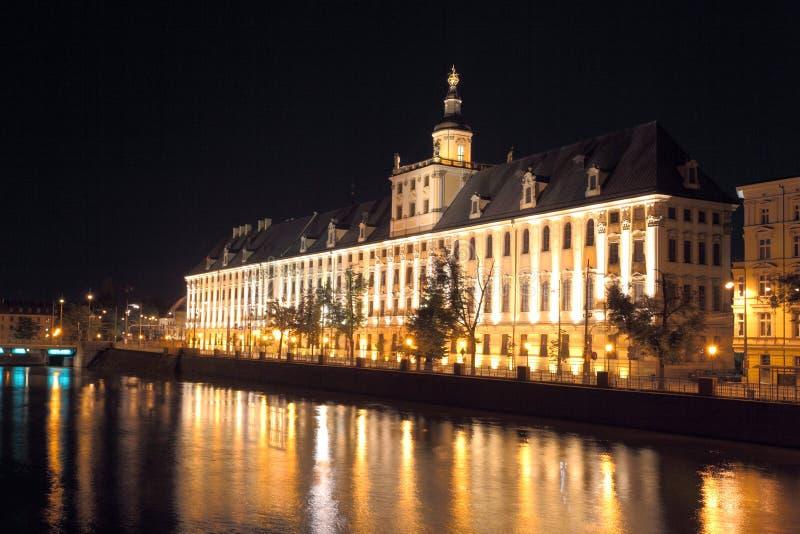 wroclaw ночи стоковое фото rf