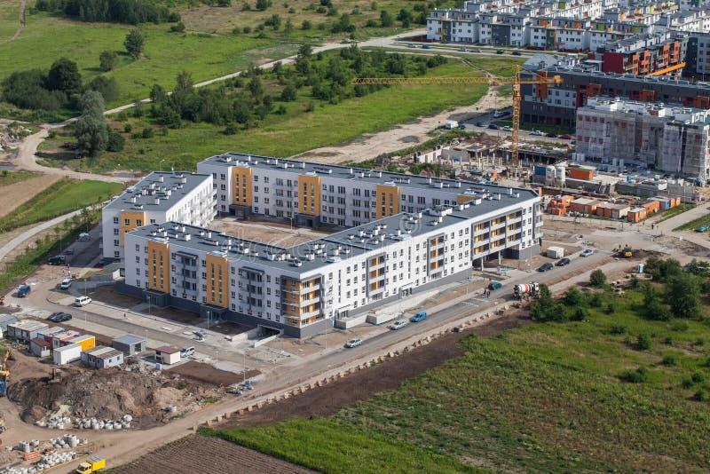 Wroclaw, Польша - 22-ое июля 2015: Вид с воздуха города Wroclaw внутри стоковое фото rf