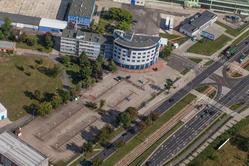 Wroclaw, Польша - 22-ое июля 2015: Вид с воздуха города Wroclaw внутри стоковые изображения