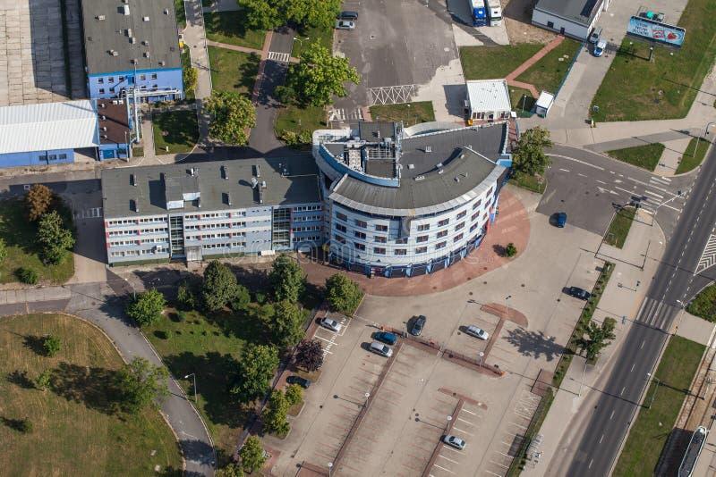 Wroclaw, Польша - 22-ое июля 2015: Вид с воздуха города Wroclaw внутри стоковое изображение