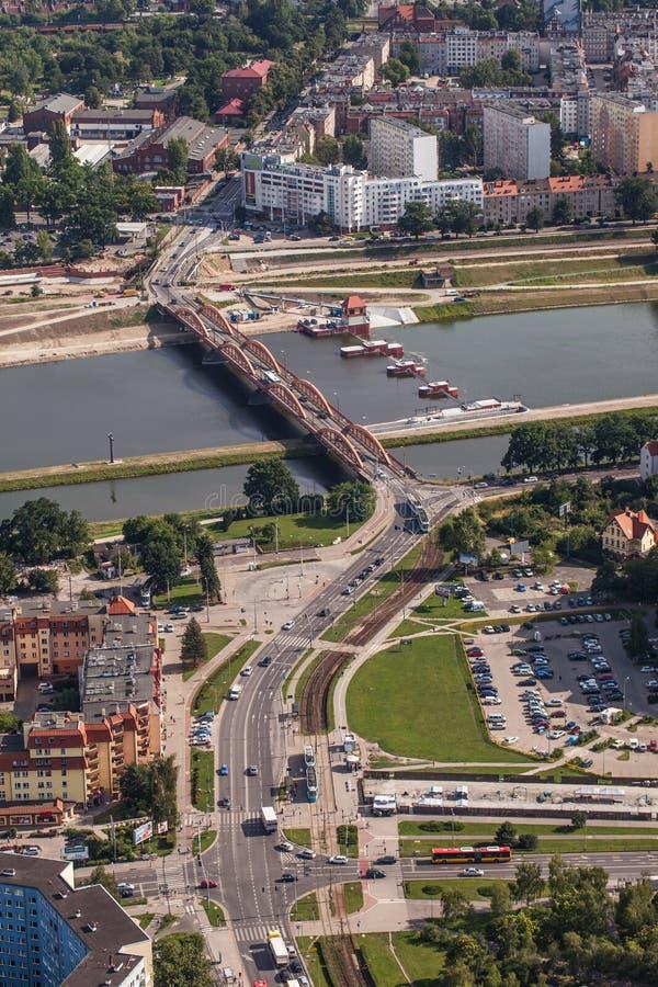 Wroclaw, Польша - 22-ое июля 2015: Вид с воздуха города Wroclaw внутри стоковое фото