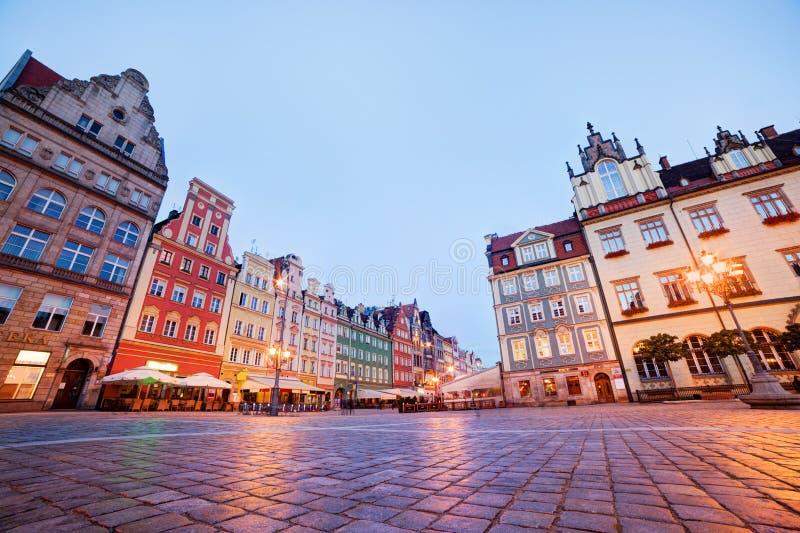 Wroclaw, Польша. Рыночная площадь на вечере стоковая фотография rf