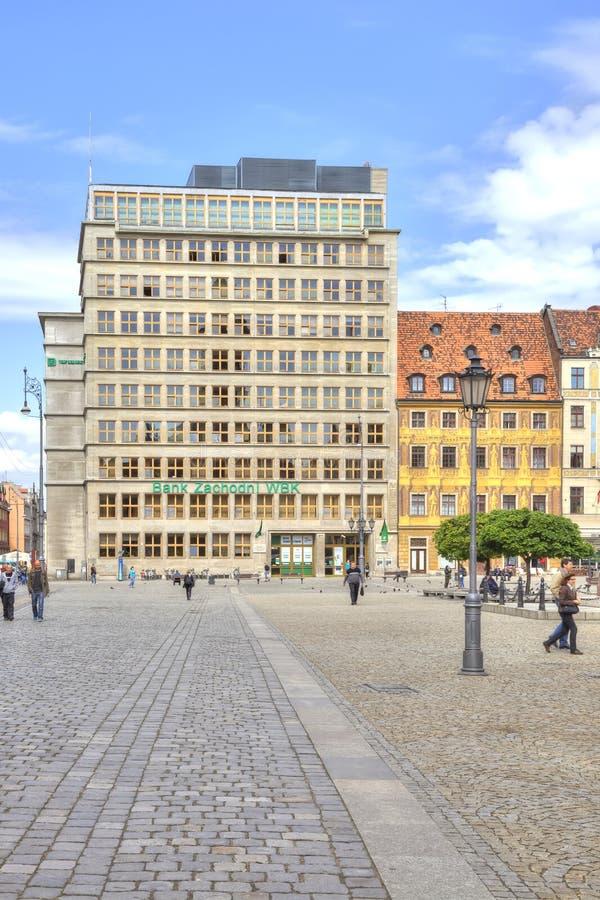 wroclaw Bank in het Marktvierkant stock fotografie