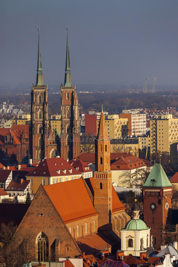 Wroclaw Cathedral - aerial view stock image