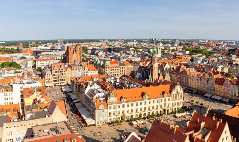 Wroclaw en Pologne Vue sup?rieure de la vieille ville photographie stock