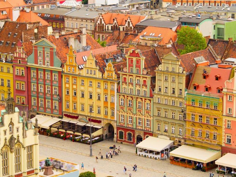 wroclaw för fyrkant för marknadspoland rynek arkivfoto