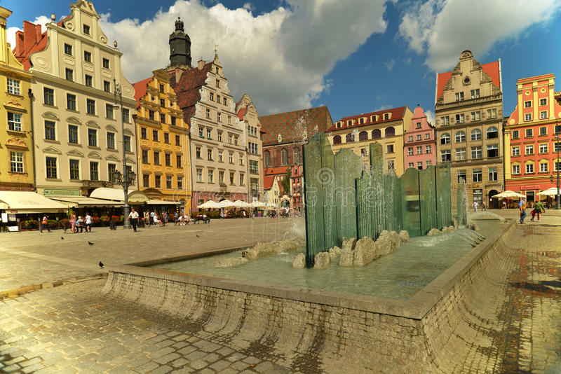 Wroclaw - glass fountain royalty free stock image