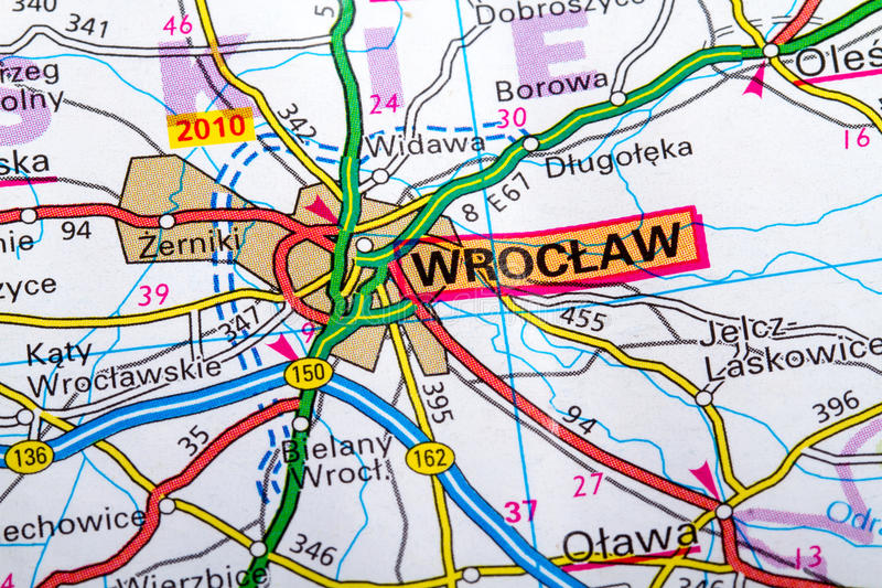 Wroclaw map stock image Image of orientation west maps 36800889