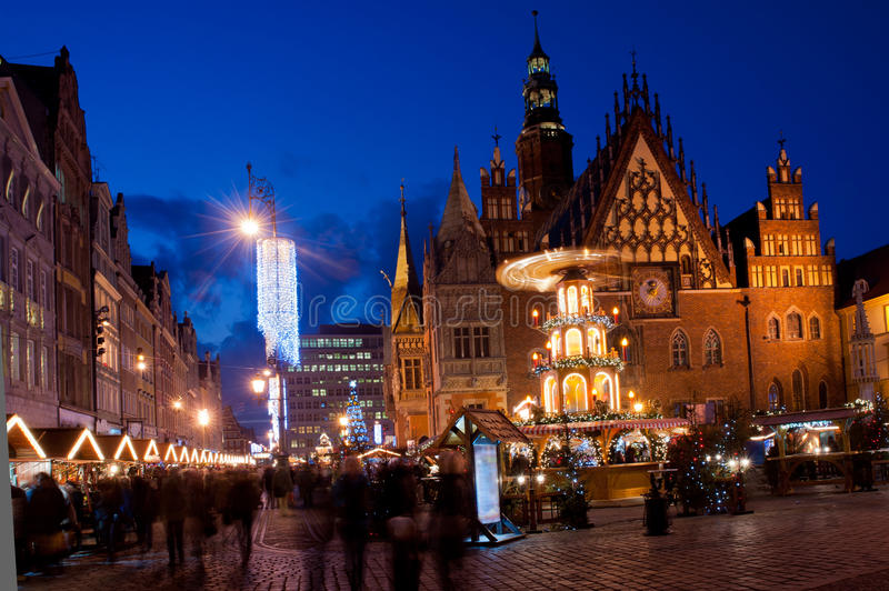 Download Wroclaw by night stock photo. Image of building, celebrate - 22943430