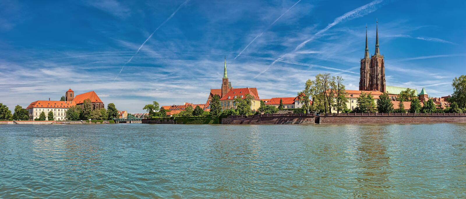 Island Tumski and Odra River in Wroclaw. Wroclaw Old Town. Cathedral Island Ostrow Tumski is the oldest part of the city. Cathedral of St. John and Blessed royalty free stock photos