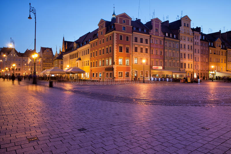 Wroclaw Old Town Market Square at Dusk. City of Wroclaw in Poland, Old Town Market Square in the evening royalty free stock image
