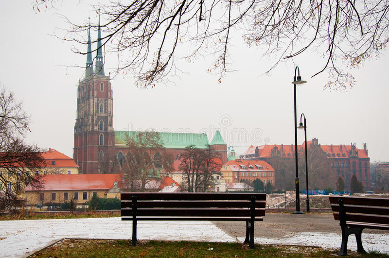 Wroclaw. Old Town in the morning on the river Odra. Wroclaw stock image