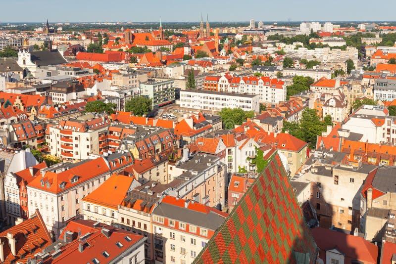 wroclaw Panorama de ville, vue de la partie la plus ancienne de la ville images stock