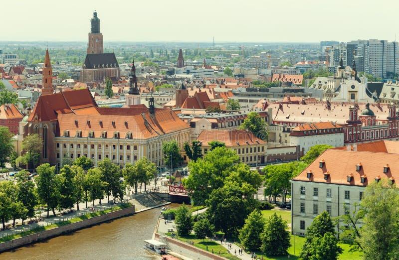 wroclaw Panorama de ville, vue de la partie la plus ancienne de la ville photo stock