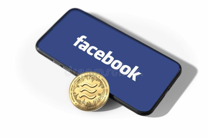 WROCLAW, POLÔNIA - 19 de junho de 2019: Facebook anuncia o cryptocurrency da Libra Conceito da moeda da Libra isolado no fundo br fotos de stock
