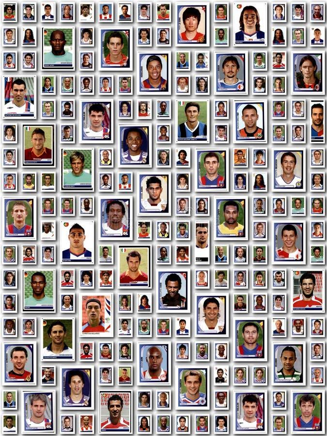 WROCLAW, POLÔNIA - 20 DE NOVEMBRO DE 2016: Editorial ilustrativo da colagem muitos jogadores de futebol europeus famosos imagens de stock