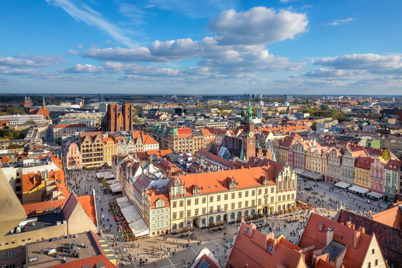 Wroclaw, Poland. Aerial view of Rynek square stock photography