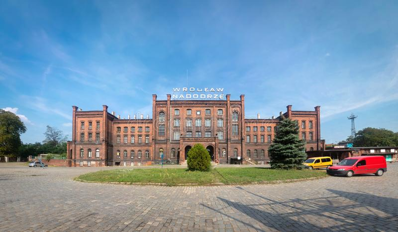 Nadodrze - historic railway station in Wroclaw, Poland stock photography