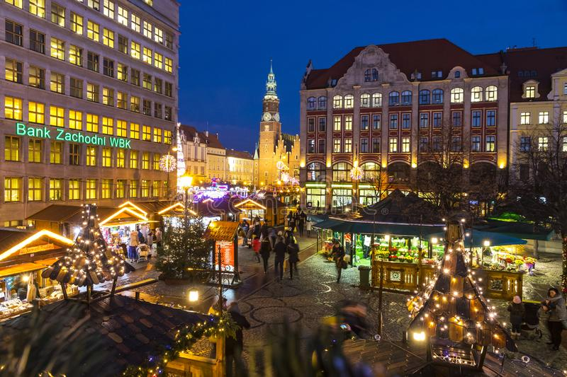Christmas market in Wroclaw, Poland. WROCLAW, POLAND - DEC 8, 2017: Christmas market on Market square Rynek in Wroclaw, Poland. One of Poland`s best and largest stock image