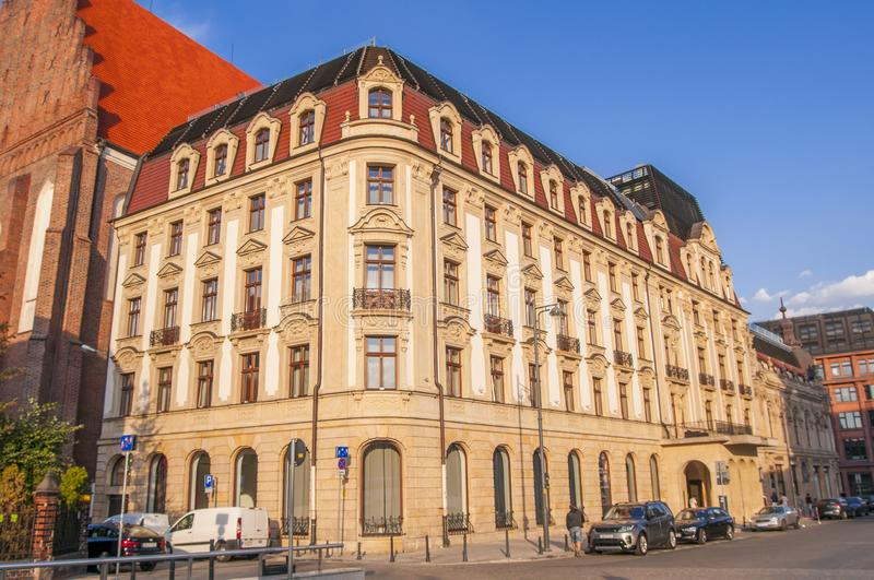 Wroclaw, Poland, the Five-star Hotel Monopol Wroclaw in Art Nouveau/Neo-Baroque style from 1892. Opposite Opera house stock images