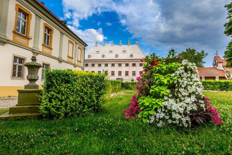 Wroclaw, Poland Ostrow Tumski houses. Wroclaw, Poland houses and flowers view of Ostrow Tumski island royalty free stock photos