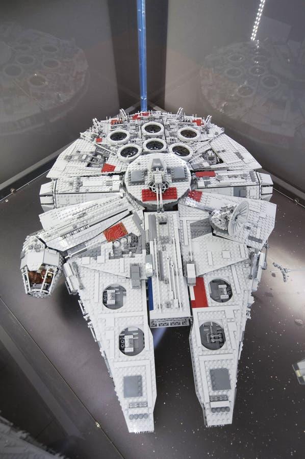 Star Wars Falcon Millenium, made by Lego blocks. Wroclaw, POLAND - January 25, 2014: Star Wars Falcon Millenium, made by Lego blocks royalty free stock images