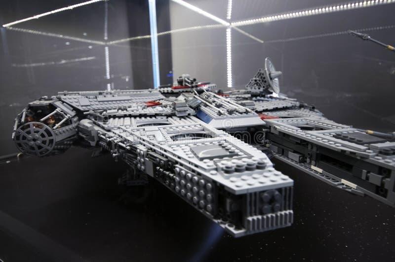 Wroclaw, POLAND - January 25, 2014: Star Wars Falcon Millenium, made by Lego blocks. royalty free stock photos