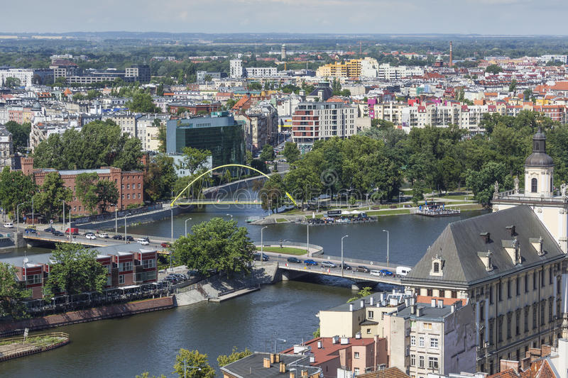 WROCLAW, POLAND - JULY 07, 2016: Scenic summer aerial panorama o. F the Old Town architecture in Wroclaw, Poland stock photo