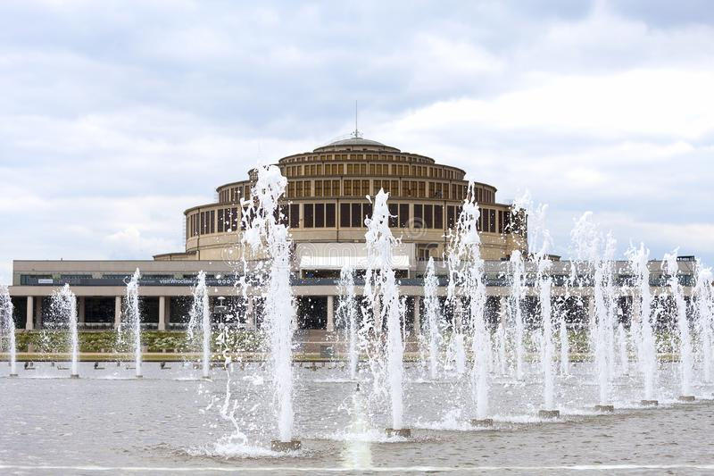 Centennial Hall and Multimedia Fountain, Wroclaw, Poland royalty free stock image