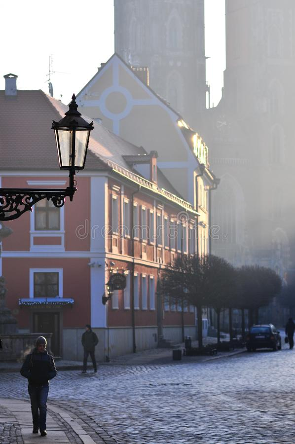 Street lamp lantern in Wroclaw catholic old town Ostrow Tumski. with cathedral in the back royalty free stock photo