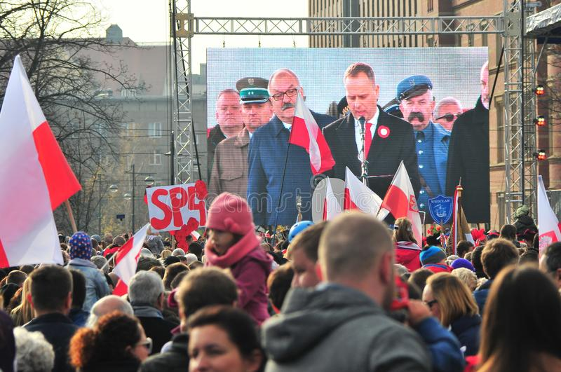 Wroclaw, Poland, november 2018. Celebrations of Poland independence day in Wroclaw royalty free stock image