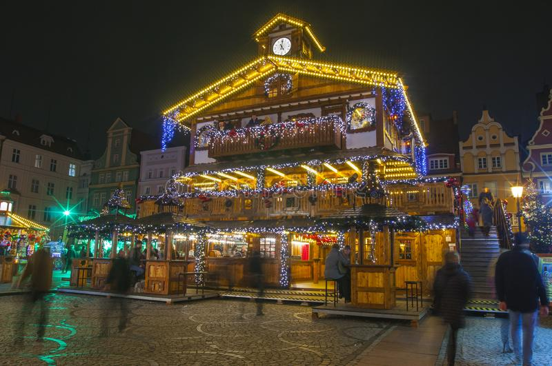 Christmas market in main square. Market Square in colorful illuminations and decorations. stock photo