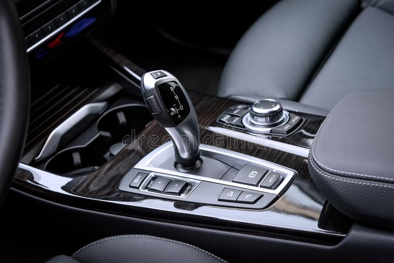 WROCLAW, POLAND - OCTOBER 31, 2017: close-up photo of gear selector of automatic gearbox stock photography